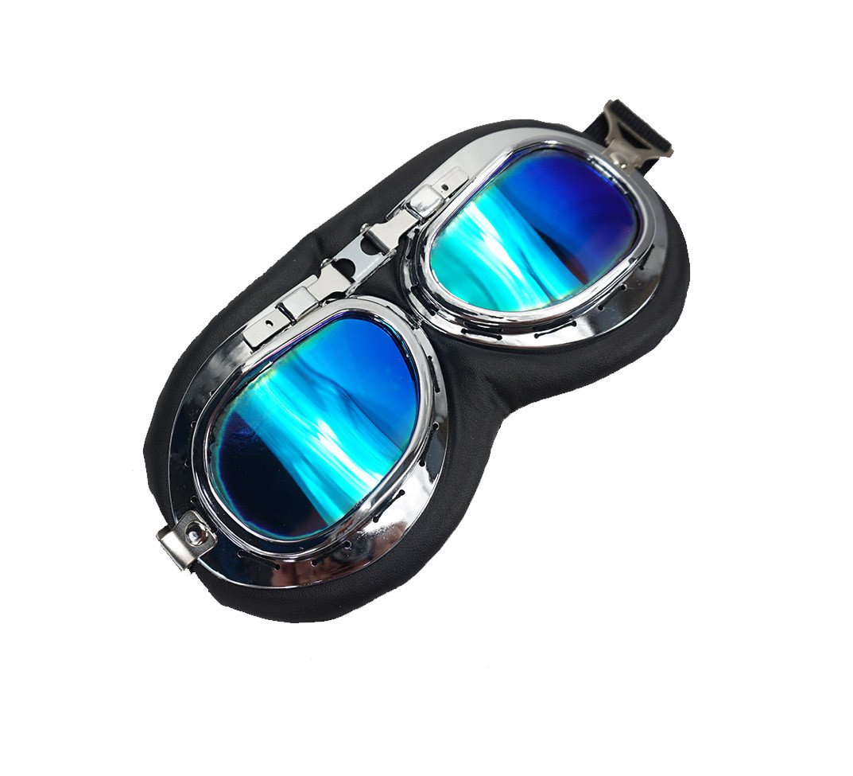 Oldtimer bril zwart spiegel lens