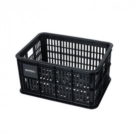 Fietskrat Basil Crate S zwart met Basil logo