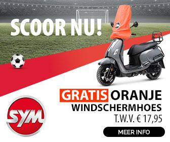 sym EK actie- gratis oranje windschermhoes
